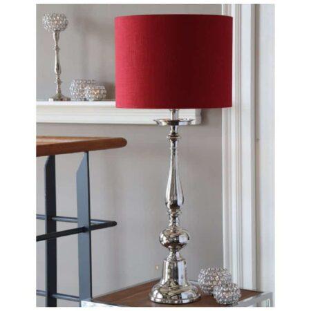 Tischlampe aus poliertem Metall in silber mit rotem Lampenschirm von Light & Living