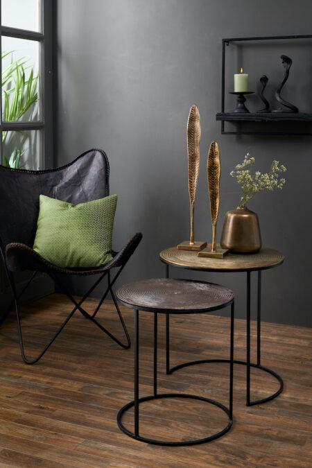 Beistelltisch-Set Talca, antik und Kupfer Tischplatte mit besonderer Struktur