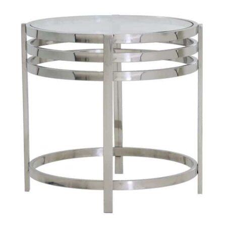 Beistelltisch ANGOL, rund, Glasplatte, Gestell Metall Silber, von Light und Living