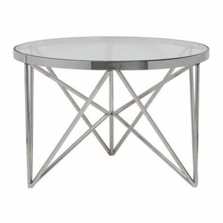 Beistelltisch Orebo, Glas, Silber Metall von Light & Living