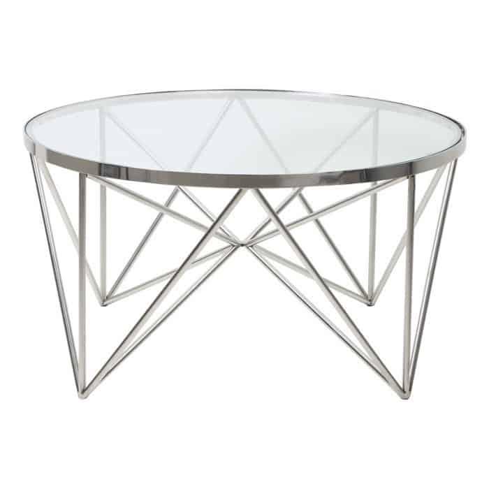 Couchtisch BOGOTA, Glas, Silber Metall von Light & Living
