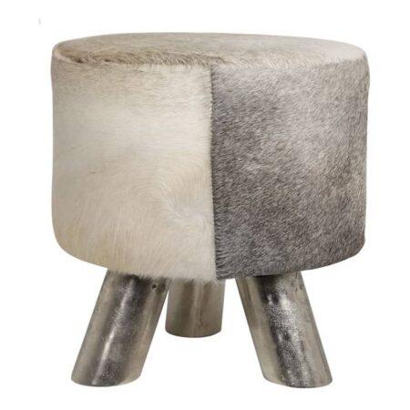 Hocker HAGAN, Kuhfell grau weiss, rund, von Light & Living