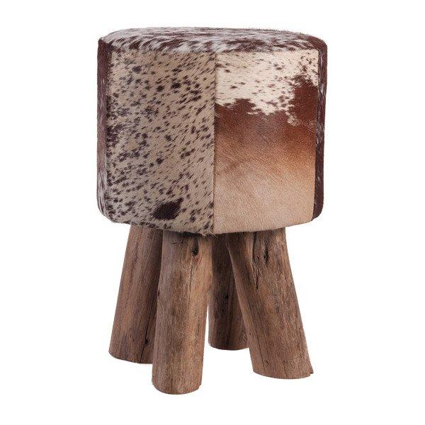hocker holzfuss kuhfell braun h he 45cm gutraum8 m bel. Black Bedroom Furniture Sets. Home Design Ideas