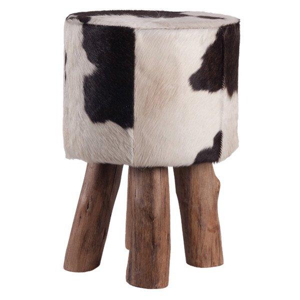 hocker holzfuss kuhfell schwarz weiss h he 45cm gutraum8. Black Bedroom Furniture Sets. Home Design Ideas