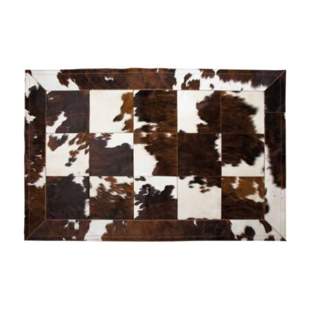 Fellhof Kuhfell Teppich NORMANDIE aus Patchwork von Fellhof - 3farbig braun weiß schwarz gefleckt
