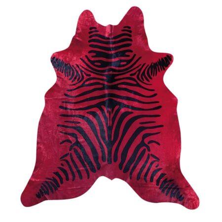 Kuhfell Teppich Rot mit Zebramuster von Fellhof Österreich