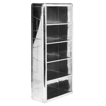 AVIATOR Regal in silber glänzend, aus der Fliegerkollektion, 5 Regalböden, Bücherregal