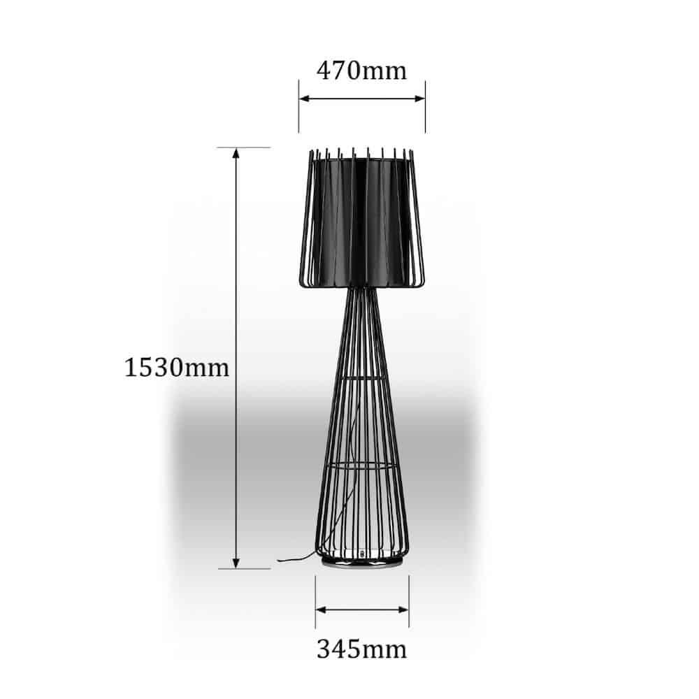 stehlampe aria schwarz metall gutraum8. Black Bedroom Furniture Sets. Home Design Ideas