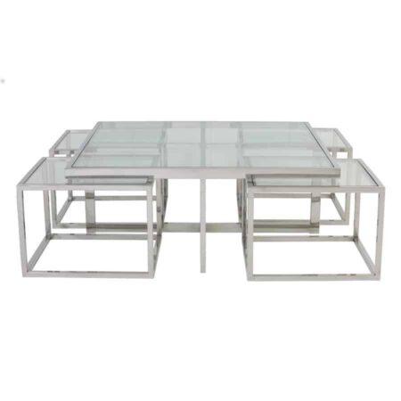 Couchtisch MACARA, 1 grosser Glastisch und 4 kleine die darunter passen von Light & Living