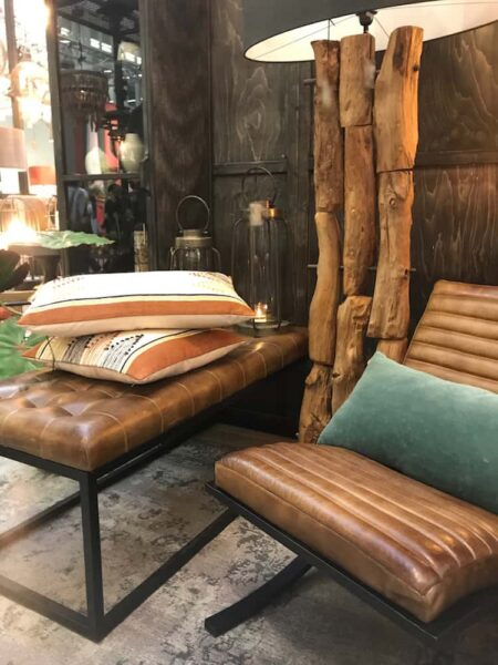 Interior, Hocker, Sitzbank aus LederBraun Vintage von Light & Living