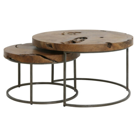 Couchtisch KARNARE massive Holz Tischplatte im 2er-Set
