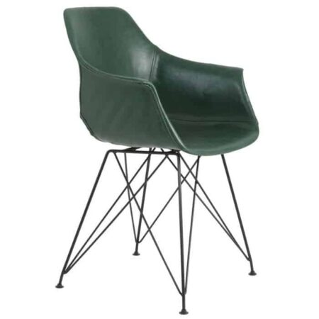 Esszimmerstuhl SERBIN 2er Set aus Leder in grün von Light & Living