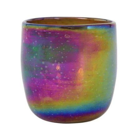 Teelicht Windlicht Tathra aus Glas im Perle Ton