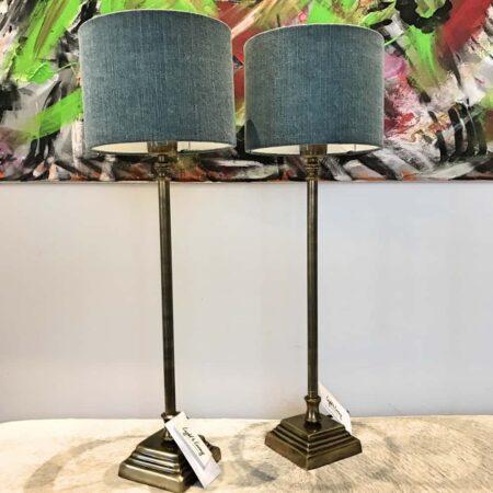 Tischlampe PURI Lampenschirm Vintage Delta Blau