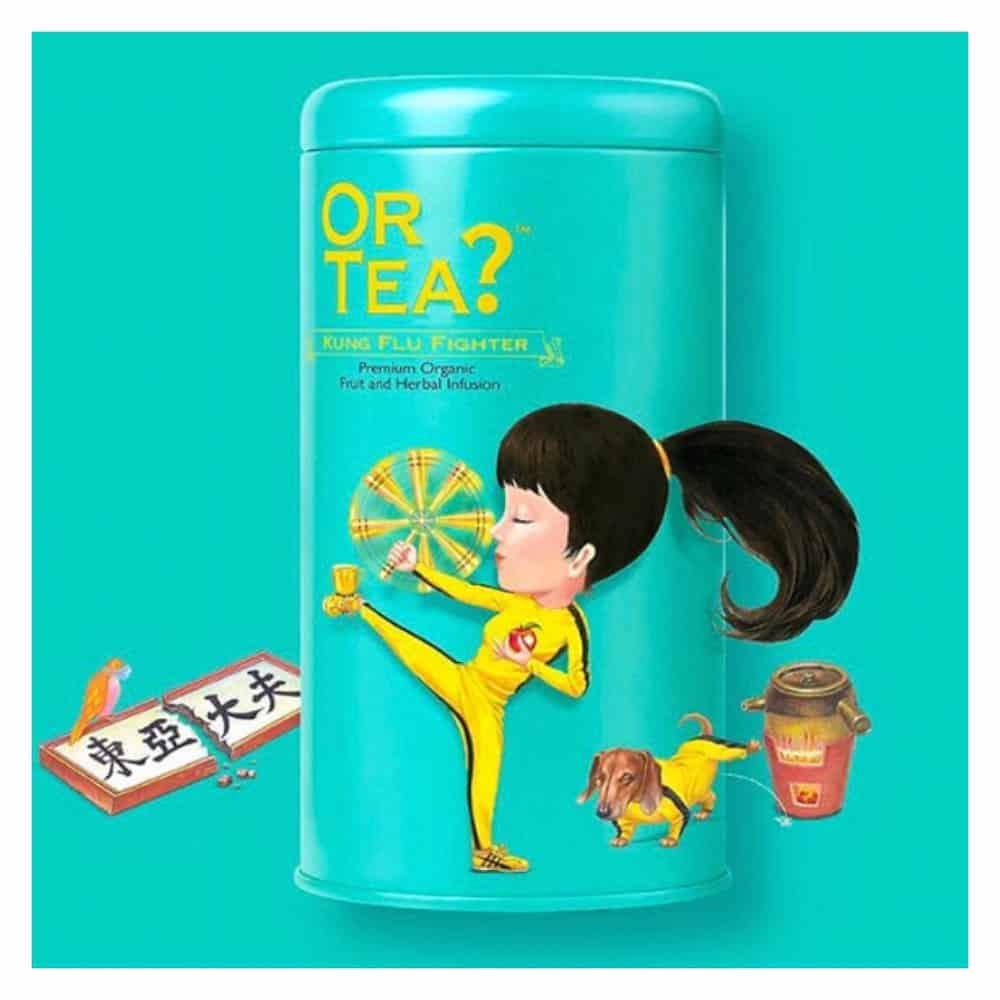 Or Tea? Kräutertee KUNG FLU FIGHTER Zutaten: Apfelstücke*, Ingwer*(19%), Orangenschale*, Pfefferminze*, Salbeiblätter*, Eucalyptus*, Holunderblüten*, Aromen. *Biozertifiziert