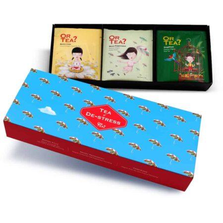 Or Tea? Das Geschenkset mit dem Thema DE-STRESS beinhaltet drei Tee Sorten. Von jeder Sorte sind jeweils fünf Teebeutel enthalten.