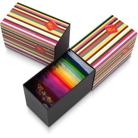 Or Tea? Ein Porbierpack bestehend aus 20 Sorten Tee. Hochwertig und liebevoll verpackt in einem schwarzen Karton mit Regenbogen-Design.
