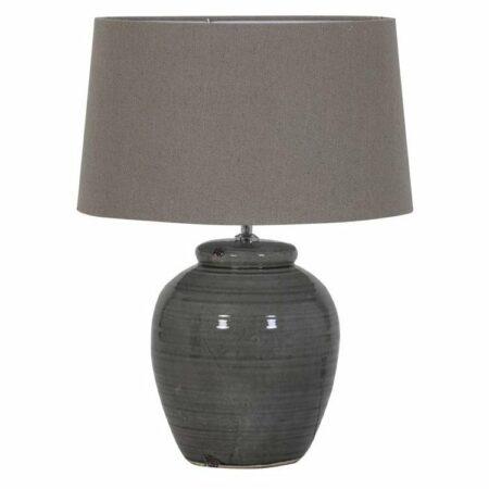 Tischlampe PANAREA graue Keramik und Stoff im Leberton von Light & Living