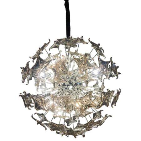 Hängeleuchte RIGOLETTO Silber Stahl Glas von Van Roon Living