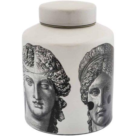 Keramikdose ROMAN FACES Edle Vorratsdose von Van Roon Living