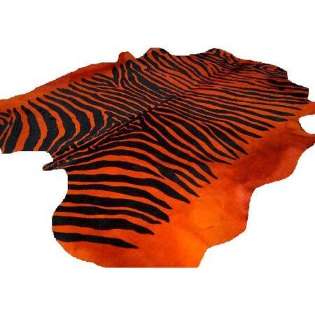 Kuhfell Teppich ZEBRA orange