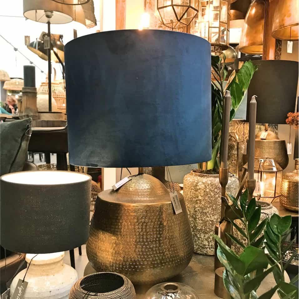 Tischlampe MOYO, Bronze und Velours Blau von Light & Living