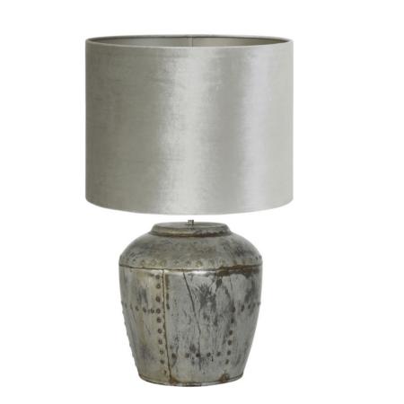 Tischlampe BATU silber Vintage Velours von Light & Living