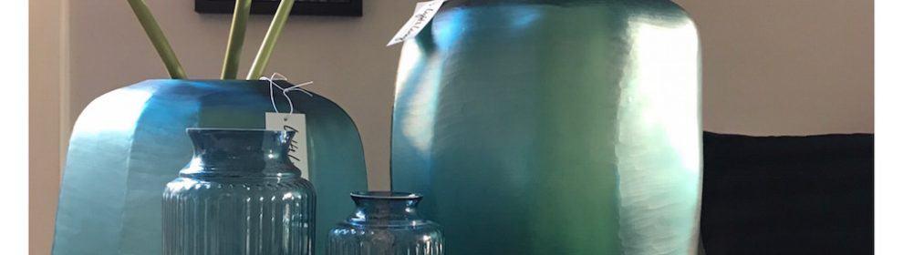 Light & Living Vase Dekoration Glas Rosa Blau Türkis
