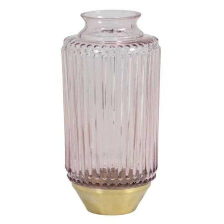Vase JANEIRO aus Glas in Rosa, Sockel in Gold von Light & Living