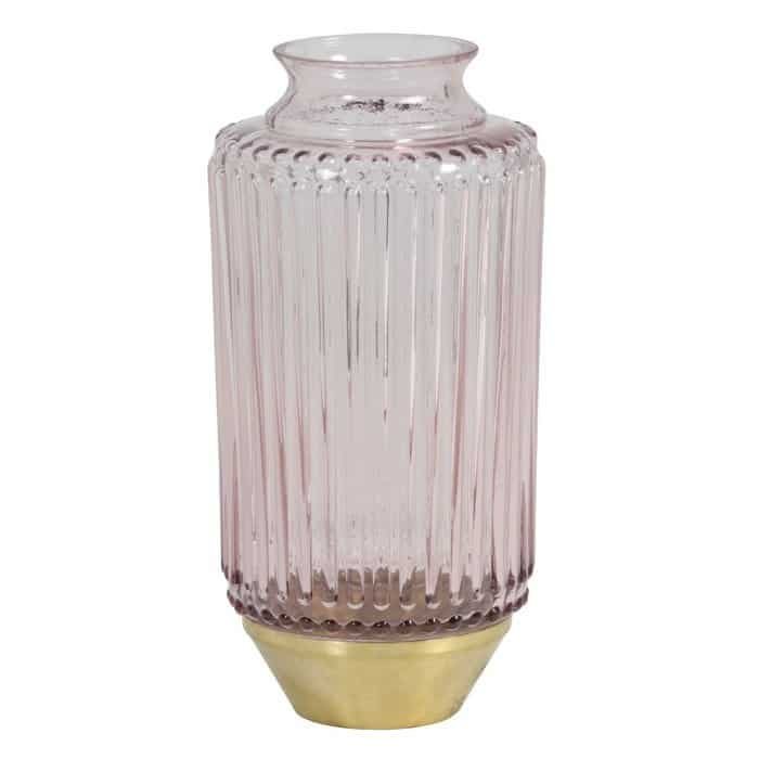 Vase JANEIRO aus Glas in Rosa, Sockel in Gold von Light & Living