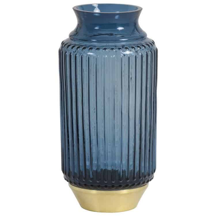 Vase JANEIRO aus Glas in Blau, Sockel in Gold von Light & Living