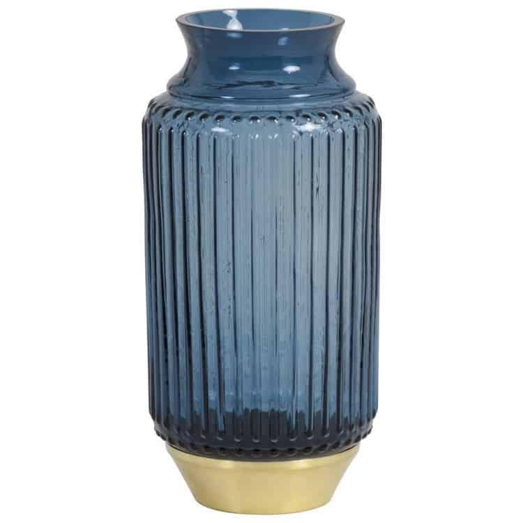 Vase JANEIRO aus Glas in Blau, Sockel in Gold von Light & Living