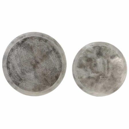 Couchtisch & Beistelltisch Tischplatte TALCA silber Metall im 2er-Set