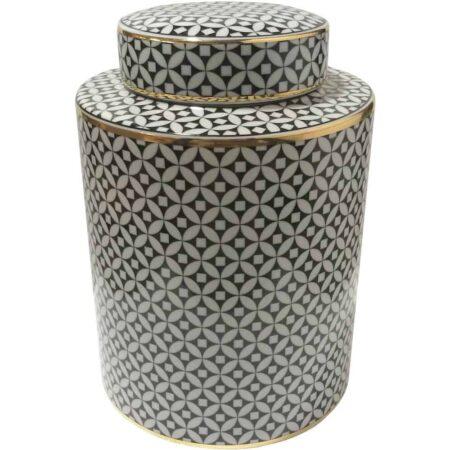 Keramikdose CECILE Ø20x28 cm Van Roon Living schwarz weiss gold