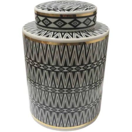 Keramikdose ISABELLE Ø20x28 cm Van Roon Living schwarz weiss gold