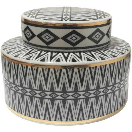 Keramikdose ISABELL, Van Roon Living schwarz weiss gold