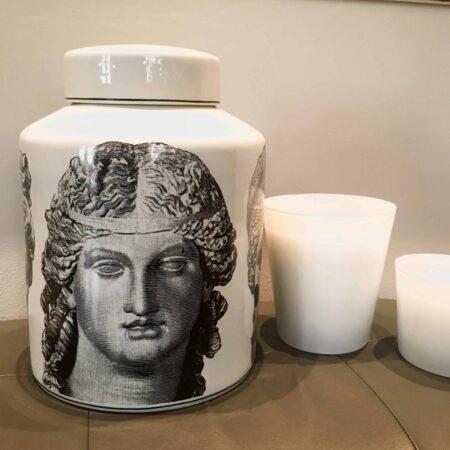 Keramikdose ROMAN FACES Ø24,5x32 cm schwarz weiss