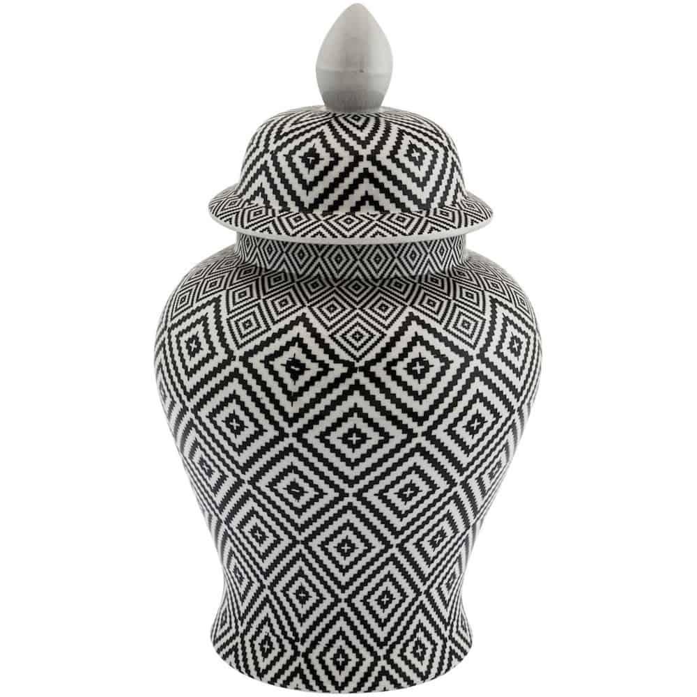 Keramikdose TEMPLE DIAMOND, Muster in Schwarz Weiss mit Deckel, auch als Vase sehr schön