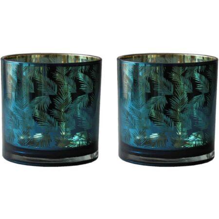 Teelichthalter PACIFIC OCEAN, Van Roon Living - grün gold Glas im 2er-Set