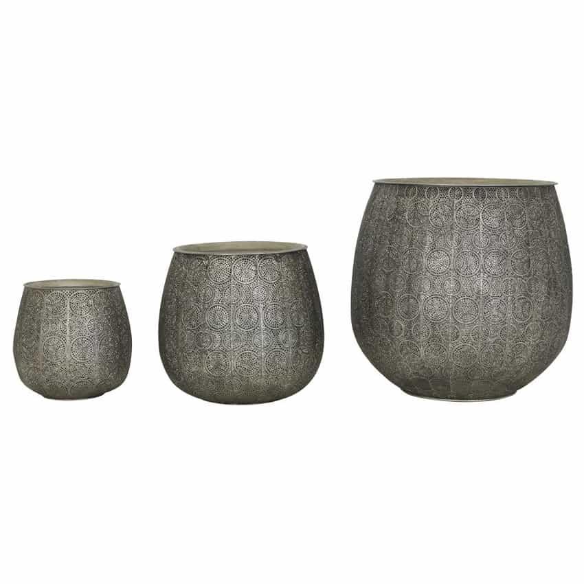 Light Living Beistelltisch Chuda Oriental Antik Silber 3er Set