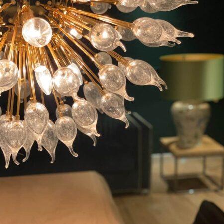 Hängeleuchte AQUARIUS - flammende Glühbirnen - Gold + Glas - Ø80 cm von Van Roon Living