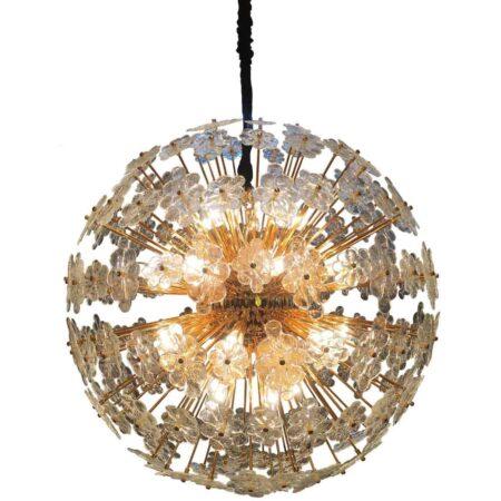 Hängeleuchte VILLA CORA in Gold und Glas mit Blumendetails von Van Roon Living