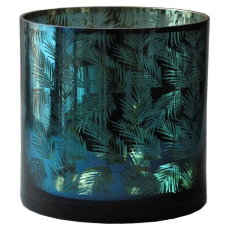 Windlicht PACIFIC OCEAN mit Blattmuster, Van Roon Living - grün gold Glas