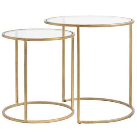 Beistelltisch DUARTE Gold Glas - im 2er-Set von Light & Living