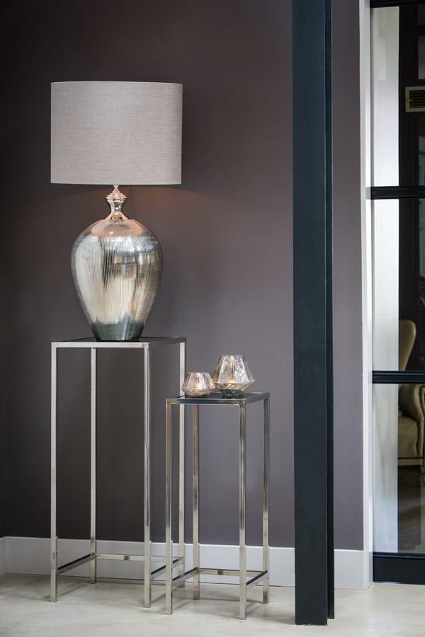 Light living beistelltisch fox metall glas silber for Beistelltisch glas metall schwarz