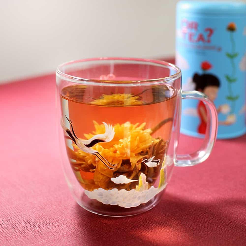 Or Tea? Teeglas mit Motiv Kranich