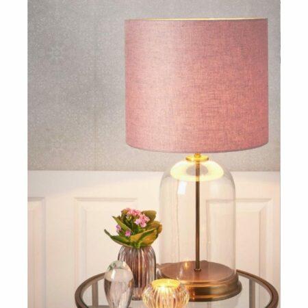 Tischlampe BOUALA Lampenfuss GLAS KLAR-ANTIK BRONZE mit einem Lampenschirm in zart Rosa