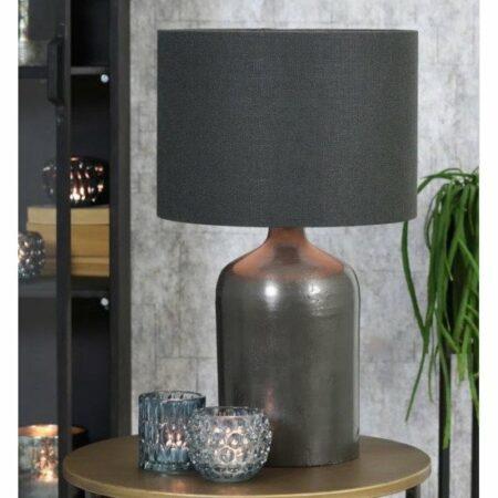Tischlampe KORADI Lampenfuss Metall Antik Lote Schwarz + Lampenschirm Stoff Anthrazit