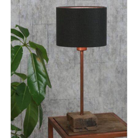 Tischlampe TIMOR Kupfer Rosegold auf Holz mit Lampenschirm in Anthrazit