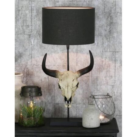 Tischlampe SKULL, Büffelkopf - Lampenschirm in anthrazit von Light & Living